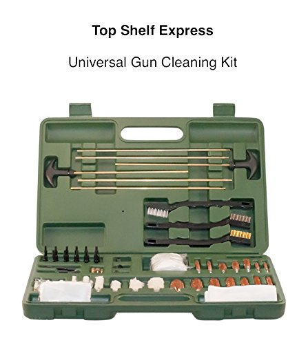 Top Shelf Express Universal Gun Cleaning Kit, Suitable for Pistols, Shotguns and Rifles, Portable, Lightweight, Brass Cleaning Rods and Bronze Brushes, Prolongs the Life of Any Gun ()