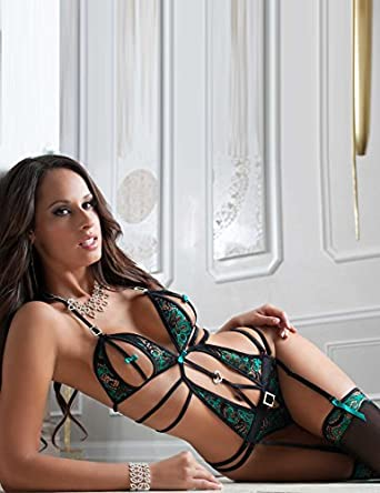 f73ebbcc11e Amazon.com  Sexy Plus Size Lingeries Bodysuit Lace Teddy Babydolls for Women  Sex with Garter Belt Stocking Peacock Green  Clothing