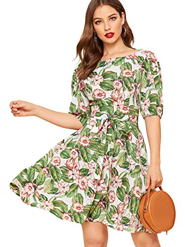 (Milumia Women's Floral Print Boat Neck Puff Sleeve High Waist A Line Belted Dress Multicolor Medium)