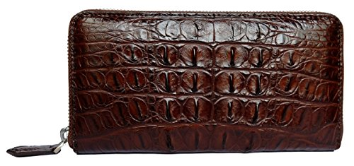 - CHERRY CHICK Men's Genuine Alligator Skin Long Wallet/Crocodile Leather Zipper Closure Business Clutch Handbag(Back Leather-Brown)