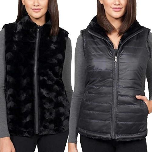 Nicole Miller Original nicolle Miller Original Women's Vest Black Reversible Faux Fur (Black, (Reversible Faux Fur Vest)