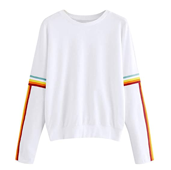 YANG-YI Clearance Sale Women Sweater Solid Color Back Ribbon Ribbon Rainbow Sweatshirt at Amazon Womens Clothing store: