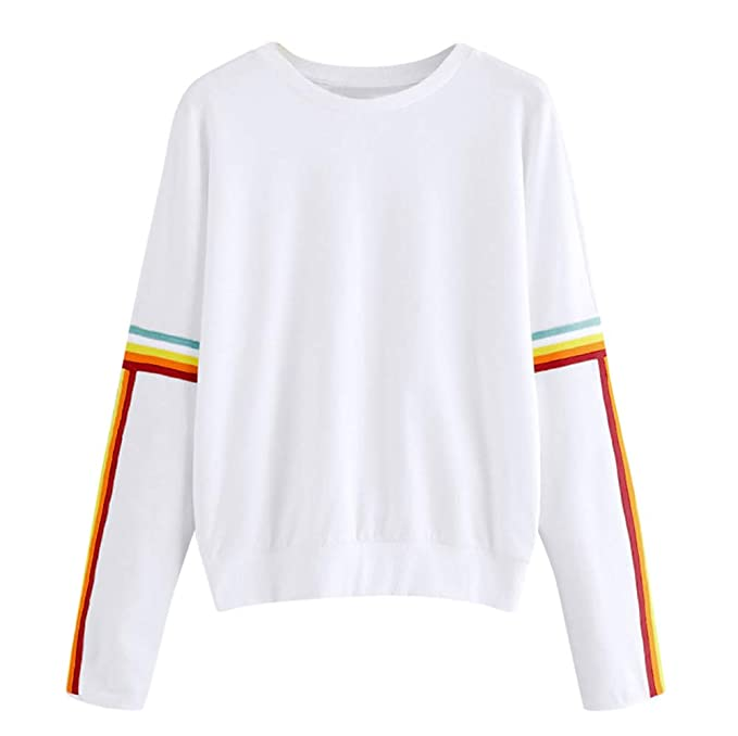 abcnature Cute Hoodies, Women Sweater Solid Color Back Ribbon Rainbow Long Sleeve Sweatshirt at Amazon Womens Clothing store:
