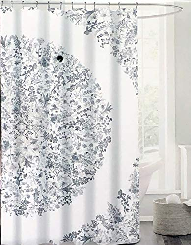 Brooklyn + Park Fabric Shower Curtain Large Round Floral Boho Style Tapestry Medallion in Shades of Gray on a White Background