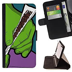 DEVIL CASE - FOR LG OPTIMUS L90 - Green Smoke Tobacco Cannabis Art Hands Painting - Style PU Leather Case Wallet Flip Stand Flap Closure Cover
