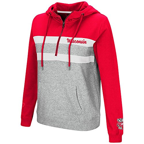 (Colosseum Womens Wisconsin Badgers Quarter Zip Pull-over Hoodie - L)