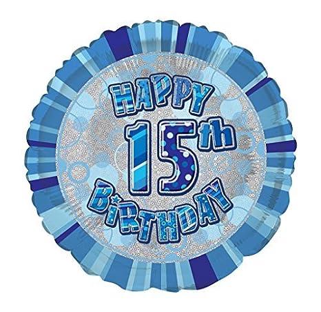 Amazon 18 Foil Glitz Blue Happy 15th Birthday Balloon By Unique