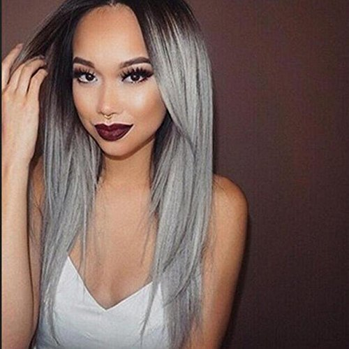 Superwigy® Long Straight Hair Two Tone Black and Grey Ombre Wig Heat Resistant Fiber Synthetic - Made Wig Hair