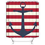 Anchor Shower Curtain Wimaha Anchor Shower Curtain Fabric Stripe Shower Curtain Mildew Resistant Water Repellent For Bathroom 72W x 72L Anchor