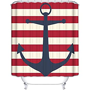 Wimaha Anchor Shower Curtain Fabric Stripe Shower Curtain Mildew Resistant Water Repellent For Bathroom 72W x 72L Anchor