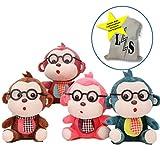 LightningStore Adorable Cute Nerd Monkey Monkies Wearing Black Glasses Green Pink Red Brown Doll Stuffed Animal Plush Toys Plushie Children's Gifts Animals + Toy Organizer Bag Bundle
