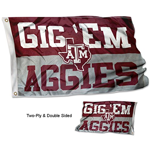 (College Flags and Banners Co. Texas A&M University Aggies Gig Em Aggies Double Sided Flag)