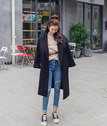 Woolen Black Color Type Hair Winter Jacket Long Temperament Xuanku Loose Woolen Coat Caramel Cocoon Casual 1B6qF7w