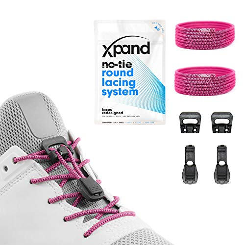 Heavy Footwear Duty (Xpand Quick Release Round-Lacing No Tie Shoelaces System with Elastic Laces - One Size Fits All Adult and Kids Shoes)