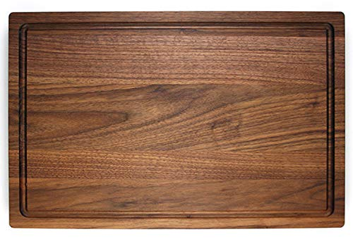 Walnut Wooden Cutting Board with Rounded Edges and Juice Groove - 17x11 Hardwood Chopping and Carving Counter top Board
