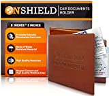 #9: Leather Car Registration and Insurance Wallet - Water Resistant & Magnetic Closure Auto Insurance and Registration Holder - Brown Car Registration Holder - Secure Documents in Glove Box or Visor Flap