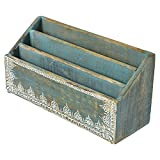 Indian Heritage Letter/Mail Sorter 6.2x12.5 Mango Wood Letter Sorter with Henna Work in Turquoise Blue Wash