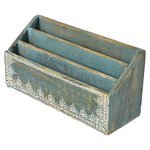 Indian Heritage Letter/Mail Sorter 6.2x12.5 Mango Wood Letter Sorter with Henna Work in Turquoise Blue Wash (Best English Magazines In India)