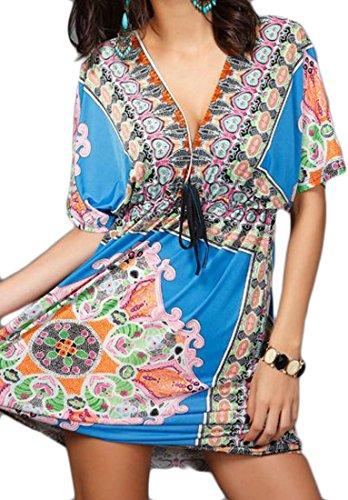 Blue Cromoncent Waist Batwing Dress Lounge Sleep Mini Tie Womens Print Sleeve aZq4Onwav