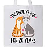 Inktastic - 20th Anniversary Gift Cat Couples Tote Bag White 2becc
