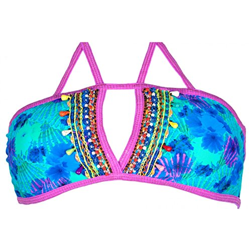 Mar de Rosas-Bañador de 2 piezas, diseño de bikini Faja con diseño de perlas bordadas a mano Corales de Mar Azul