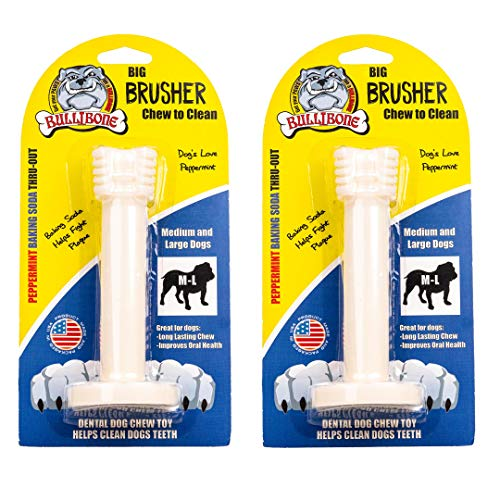 Bullibone Brusher: Dog Teeth Cleaning Brushing Toothbrush Stick – Long Lasting Nylon Peppermint Chew Toy for Dog Oral…