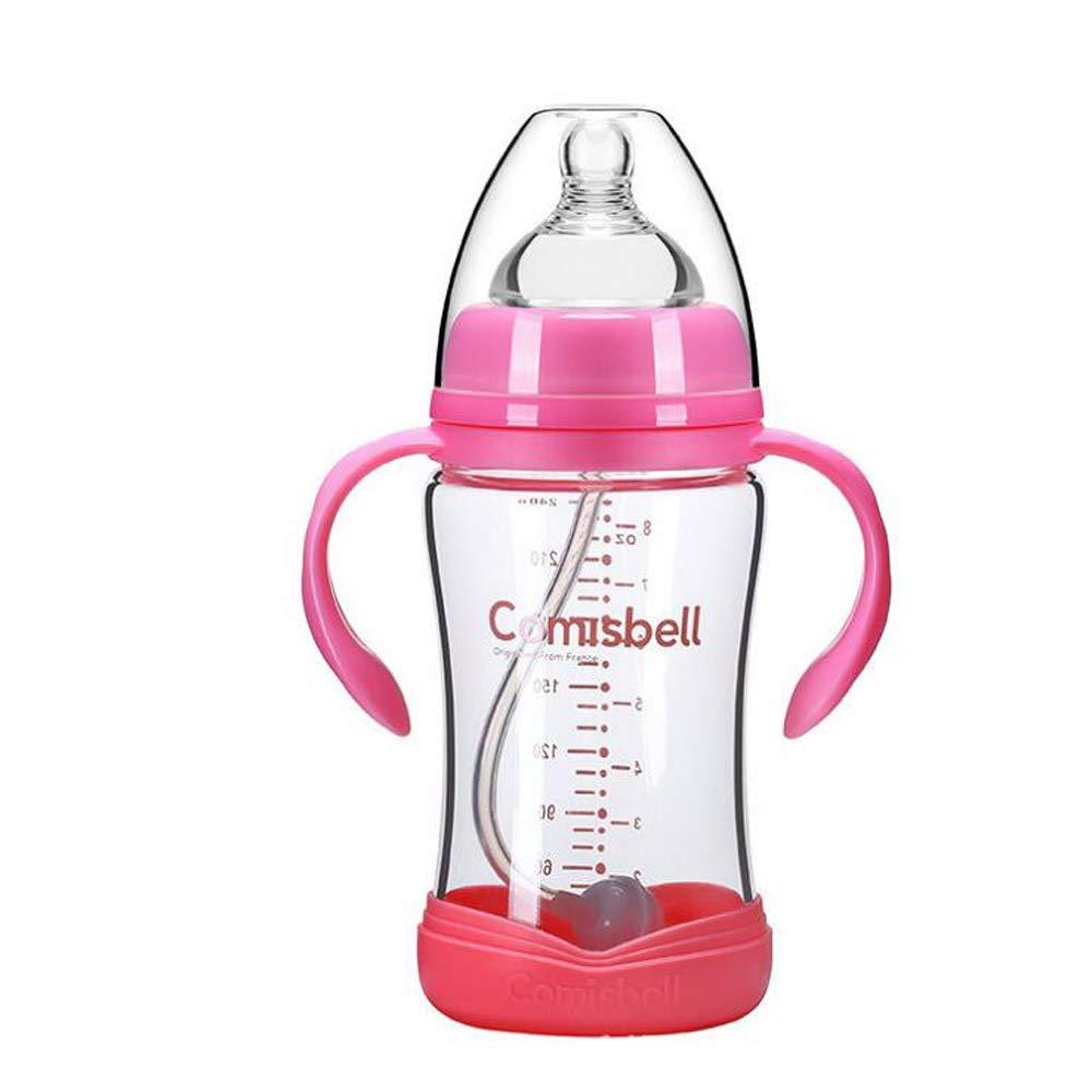 LYX 240Ml Glass Baby Bottle, Wide Diameter Anti-Fall Anti-Expansion Bottle Blue
