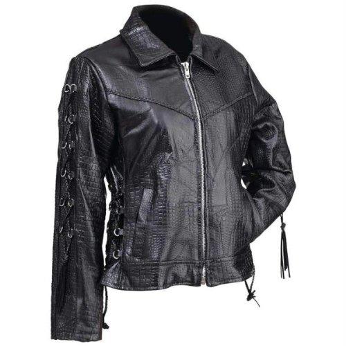 (Giovanni Navarre? Ladies' Hand-Sewn Pebble Grain Genuine Buffalo Leather Jacket)