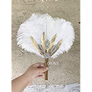 """LISALI 12"""" Ostrich Feather Bouquet, Gold White Feather Fan, Bridesmaid Fan, Peacock Handfasting, 20s Great Gatsby Vintage Wedding Bouquet 44"""
