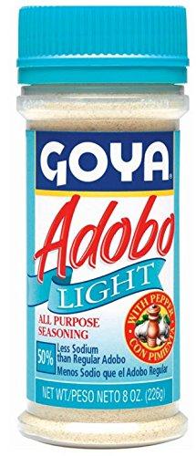 Goya Adobo Light with Pepper - 8 oz All Purpose Seasoning 50% Less Sodium (12 packs)