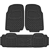 Johns FMD-23 (3pc Set) Black All-Weather Rubber Floor Mats
