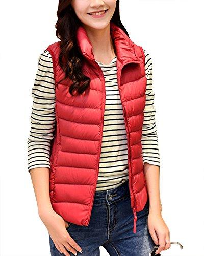 Portátil Abrigo de Mangas Sin Ligero Rojo Cremallera de Mujer Invierno de Plegable Plumón Chaleco de PnBZE7fxwq