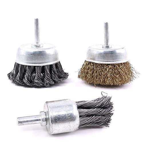 Swpeet 3 PCS 3 Inch Knotted and Plated Crimped and 1-Inch Carbon Knot Wire End Brush, Cup Wire Wheels Brush Set Perfect For Removal of Rust/Corrosion/Paint - Reduced Wire Breakage (Carbon Crimped Wire)