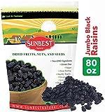 SUNBEST Seedless Black Jumbo Raisins in Resealable Bag ... (5 Lb)