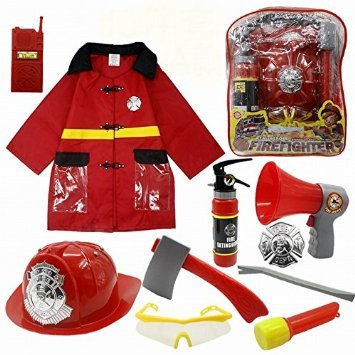 10 Pcs Fireman Gear Firefighter Costume
