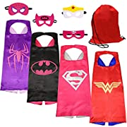 SPESS Superhero Capes Kids Birthday Party Favor Idea Dress Costume 4 Set with Mask and Bags for Girls Reversible Stain Cartoon Cape