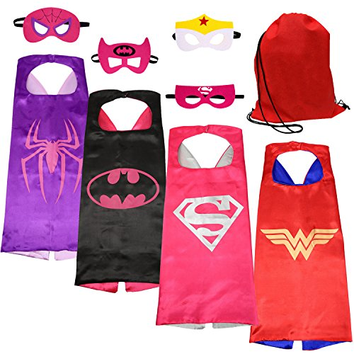 [SPESS Costumes Dress Up Clothes 4pcs Girl Capes and Masks with Red Bag] (Girl Masks)