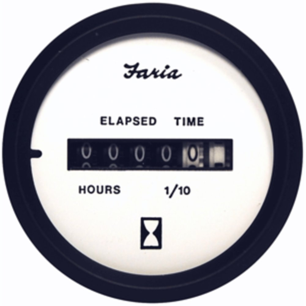 Faria Euro White 2 Hourmeter (10,000 Hrs) (12-32 VDC) - 1 Year Direct Manufacturer Warranty