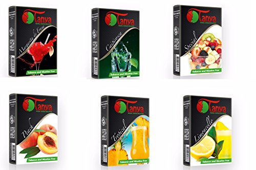 Tanya (Packs) Shisha Herbal 50G Flavor 100% Nicotine and Tobacco Free (6)