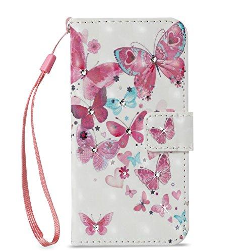 Lotuslnn iPhone 7plus / 8plus caja del teléfono, caja de cuero de la PU cubierta de cierre magnético cubierta con Kickstand y ranuras para tarjetas de bolsillo en efectivo para iPhone 7plus / 8plus -  Big Butterfly pink