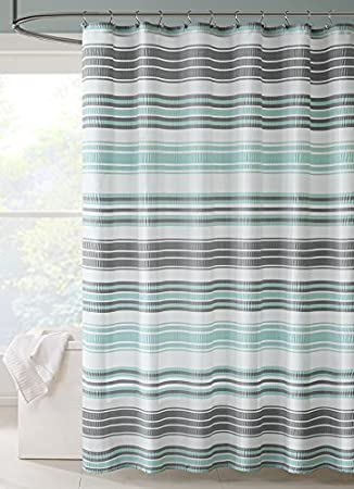 Intelligent Design ID70 803 Ana Puckering Stripe Shower Curtain 72x72quot