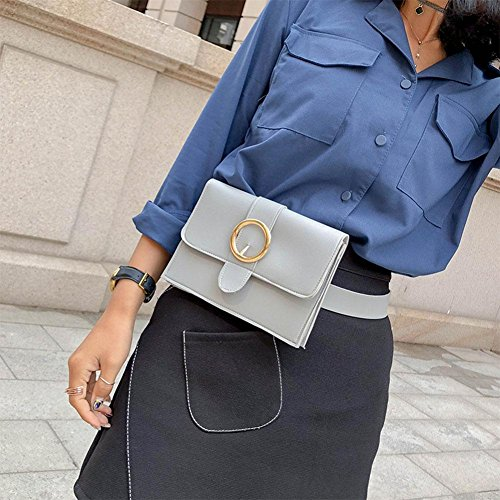 Leather Waist Pure Women Chest Pack Grey Hasp Simple Handbags PU Domybest Fanny Shoulder S4qfwZxSO