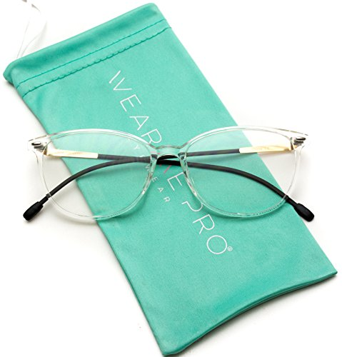 Clear Lens Small Circle Round Oval Glasses (Clear Frame/Black Temple, 53) Black Temple Frame