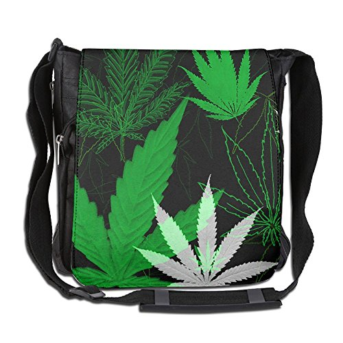 Men Women Classic Green Weed Leaves Messenger Bag Lightweight Crossbody Bag Shoulder Bag College Bag For Outdoor Workout Travel by XIHUANGNI