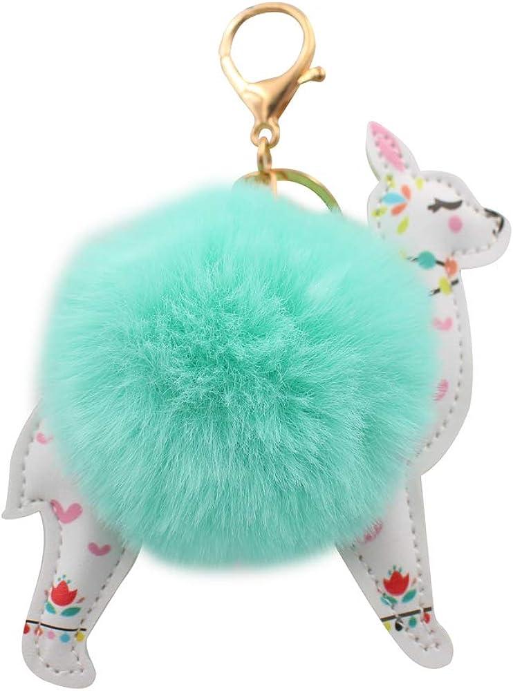 REAL SIC Alpaca//Llama Pom Pom Keychain Bags or Gifts Faux Fur Fluffy Fuzzy Charm For Women /& Girls Purses Teal Fake Rabbit Key Ring for Backpacks