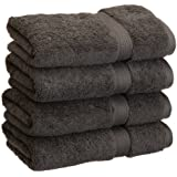Superior 900 Gram Egyptian Cotton 4-Piece Hand Towel Set, Charcoal