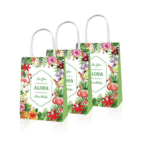 CC HOME Hawaiian Aloha Party Decorations, Aloha Party Favor Bags,Luau Paper Treat Bags Hibiscus Flower Design For Summer Party ,Wedding ,Bridal Shower ,Baby Shower ,Birthday Party ,Hawaiian Luau Party Supplies Favors,10 Packs