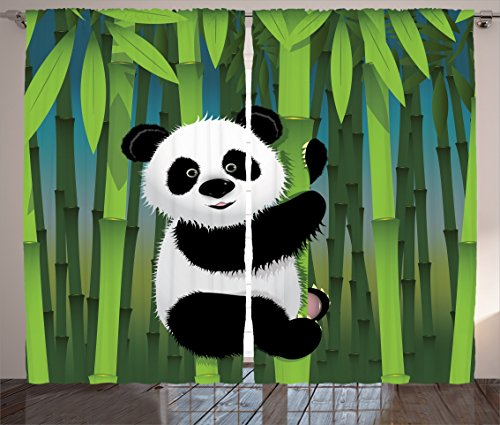 Bamboo Set Bedroom Bedroom (Ambesonne Cartoon Decor Collection, Curious Baby Panda on Stem of the Bamboo Bear Jungle Nature Wood Design Pattern, Living Room Bedroom Curtain 2 Panels Set, 108 X 90 Inches, Green Blue Black White)