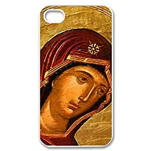 Hard Shell Custom Case- Virgin Mary Christian and Child Baby Jesus Protective PC Case for iPhone 4 iPhone 4s (White 020347)