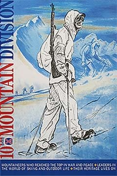 Vintage Ski World Soldier in Italy, 10th Mountain Division Poster - 20 x 30 inches, Comes in 3 Sizes